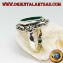 Silver ring with oval green agate elongated in a marcasite eight