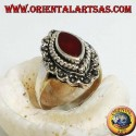 Silver ring with shuttle carnelian surrounded by braid and a row of marcasite