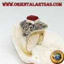 Silver ring with rectangular carnelian and geometric decorations perforated with marcasite