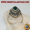 Silver ring with green shuttle agate surrounded by braid and a row of marcasite