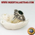 Silver ring with oval green agate on an openwork setting with marcasites