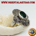 Silver ring with oval green agate on a round frame studded with marcasite