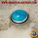 Silver ring with a round cabochon turquoise surrounded by a row of disks (14)