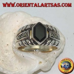 Silver banded ring with hexagonal onyx and marcasite on the sides