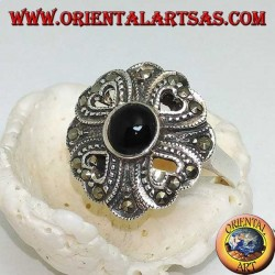 Silver ring with round onyx surrounded by four openwork and marcasite hearts