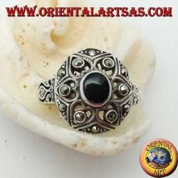 Bouclier de David en argent avec onyx ovale et marcassite sur les six pointes de l'étoile