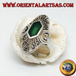 Elliptical silver ring with hexagonal and marcasite green agate and openwork heart on the sides