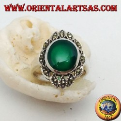 Silver ring with oval green agate surrounded by ellipses with marcasite