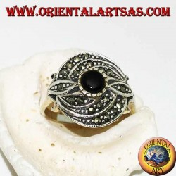 Silver ring with round onyx and triple concentric line of marcasite