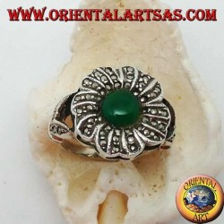Silver flower ring with round green agate surrounded by marcasite