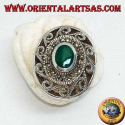 Silver ring with oval green agate surrounded by marcasite and Greek with fretwork