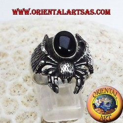 Spider with onyx ring in silver