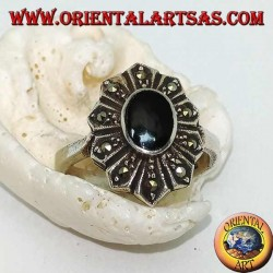 Silver flower ring with oval onyx and ten marcasite petals