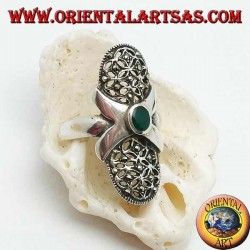 Silver ring with oval green agate, smooth cross and perforated oval canvas studded with marcasites
