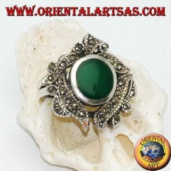 Silver ring with oval green agate surrounded by marcasite studded leaves