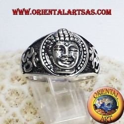 Buddha head with Om ring in silver