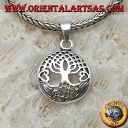 Pendentif en argent, Yggdrasil dans le petit cercle (arbre de vie ou arbre cosmique)