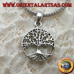 Pendentif en argent, stylisé Yggdrasil dans le cercle (arbre de vie ou arbre cosmique)