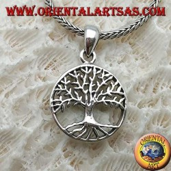 Silver pendant, stylized Yggdrasil in the circle (tree of life or cosmic tree)