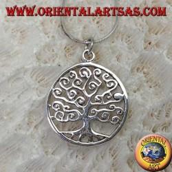 Colgante de plata, árbol de la vida de estilo Klimt en el círculo (delgado)
