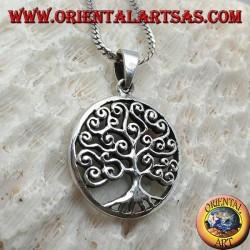 Pendentif en argent, arbre de vie de style Klimt dans le cercle (épais)