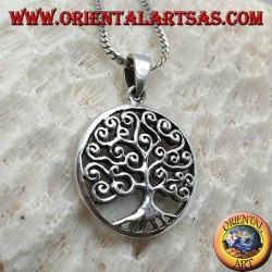 Silver pendant, Klimt-style tree of life in the circle (thick)
