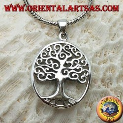 قلادة فضية ، شجرة حياة على شكل كليمت في شكل بيضاوي