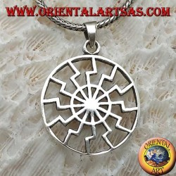 Silver pendant, black sun or simple solar wheel