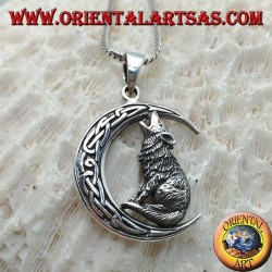 Silver pendant, wolf howling at the crescent with Celtic knot