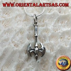 Pendant in silver, Labrys or medieval two-headed ax