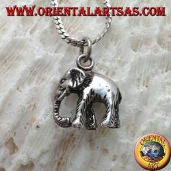 Ciondolo in argento, elefante indiano con proboscide in giù tridimensionale