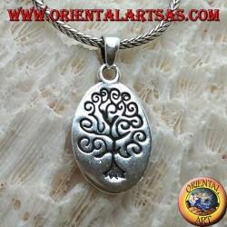 Silberanhänger, ovale Platte mit eingraviertem Lebensbaum im Klimt-Stil
