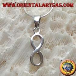 Ciondolo in argento, simbolo dell'infinito piatto in verticale