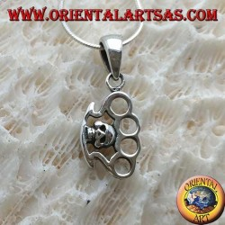 Silver pendant in the shape of a trowel with skull