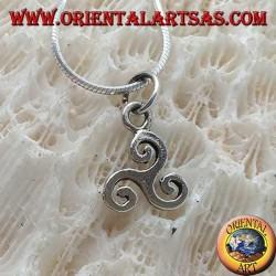 قلادة من الفضة أو triskelion أو triskele الكلاسيكية البسيطة (صغيرة)