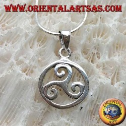 Ciondolo in argento, triscele o triskele semplice nel cerchio cosmico (piccolo)