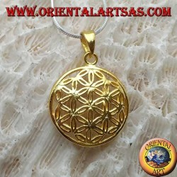 Silver pendant, gold-plated flower of life