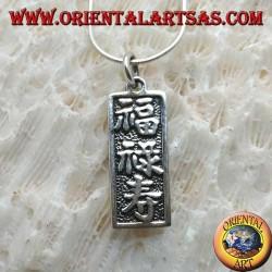 """Ciondolo in argento, targhetta con ideogrammi cinesi """"fortuna, lunga vita e prosperità"""""""