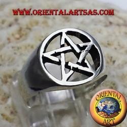 Anello con pentacolo stella in argento