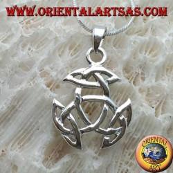 Ciondolo in argento, nodo di Tyrone con nodo celtico su ogni punta