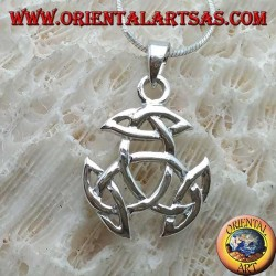 Silver pendant, Tyrone knot with Celtic knot on each tip