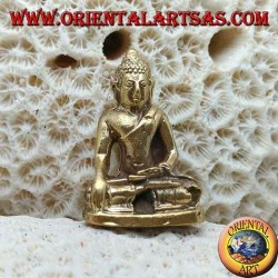 "Buddha sculpture ""Bhumisparsha Mudra - Subduing the demon Mara"" simple in brass (small)"