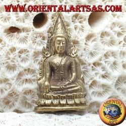 """Scultura Buddha """"Bhumisparsha Mudra - Sottomettendo il demone Mara"""" contornata sull'altare in ottone (piccola)"""