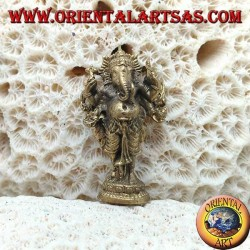 """Ganesh sculpture """"the elephant God"""" standing with halo, in brass (small)"""
