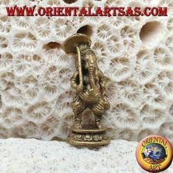 """Scultura Ganesh """"il Dio elefante"""" in piedi con l'ombrello, in ottone (piccola)"""