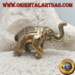 Sculpture Indian elephant with saddle and headdress decorated in brass (small)