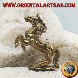 Rampant horse sculpture with saddle and reins decorated in brass (small)
