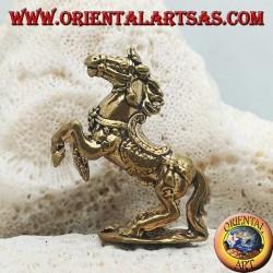 Scultura cavallo rampante con sella e redini decorati in ottone (piccola)
