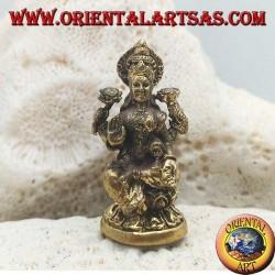 """Sculpture de Bouddha """"Varada Mudra - symbole d'offrande, d'accueil, de charité"""" avec halo en laiton (petit)"""