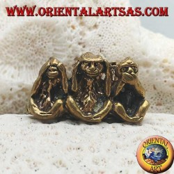 """Brass sculpture """"the three wise monkeys"""" (small)"""